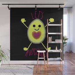 Let's Avocuddle AVOCADO - dark bg Wall Mural