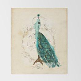 Peacock bustle mannequin Throw Blanket