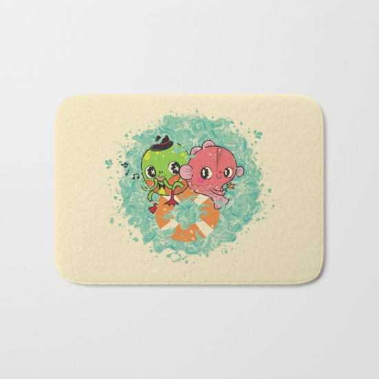 The Pond Lovers - Mr. Froggy and Ms Goldfish Bath Mat