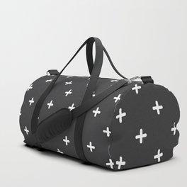 White Crosses on Charcoal Grey Duffle Bag