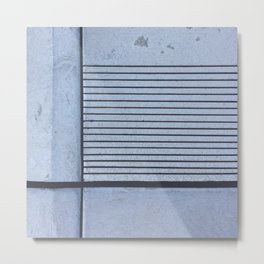 Concrete Stripe Blue Metal Print