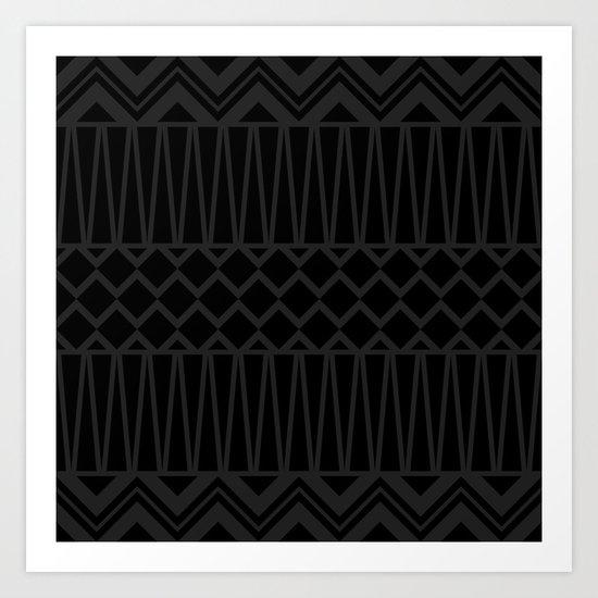 Black on Black Tribal Art Print