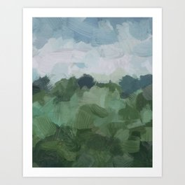 Sky Blue and Sage Green Abstract Painting, Modern Wall Art Print, Rural Country Farm Rustic Art Print