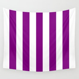 Patriarch violet - solid color - white vertical lines pattern Wall Tapestry