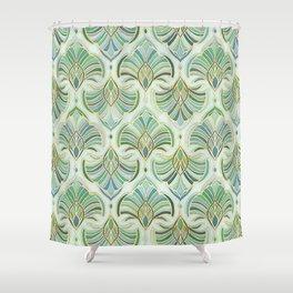 Jade Enamel Art Deco Fans Shower Curtain