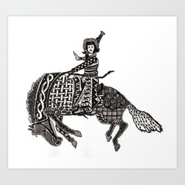 Ornate Cowgirl  Art Print