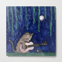 Romanza of the Feline Guitarist Metal Print