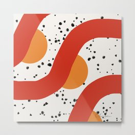 Modern Red Orange Black Abstract on White Background Metal Print