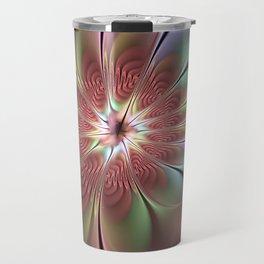 Abstract Fantasy Flower, Fractal Art Travel Mug