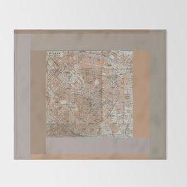 Milan, Italy / Milano, Italia antique map Throw Blanket