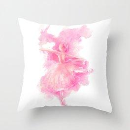 Ballerina in pink Throw Pillow