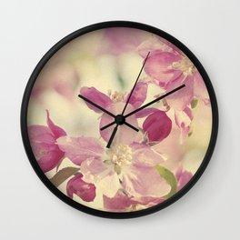 Pink Crabapple Blossom Wall Clock