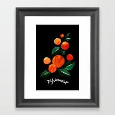 Orange Tree Black Framed Art Print