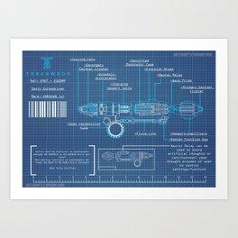 Riversong Screwdriver Blueprint Art Print