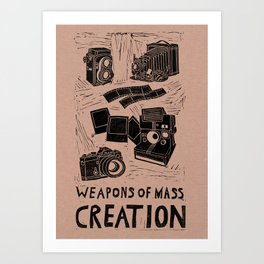 Weapons Of Mass Creation - Photography (blk on brown) Art Print