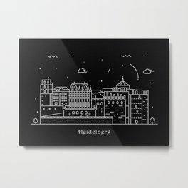 Heidelberg Minimal Nightscape / Skyline Drawing Metal Print