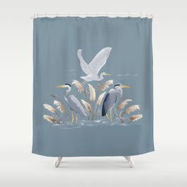 Great Blue Heron - Blue and Gray Shower Curtain