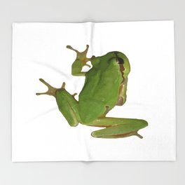 Green Tree Frog Throw Blanket