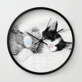 Kitten and teddy Wall Clock