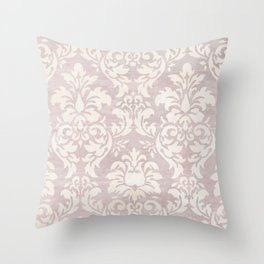 Beige Shabby Damask Pattern Throw Pillow