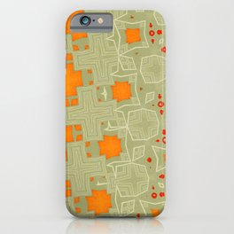 Orange, Red and Grey Irregular Abstract Pattern iPhone Case