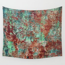 Abstract Rust on Turquoise Painting Wall Tapestry