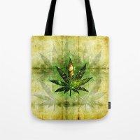 marijuana Tote Bags featuring Marijuana Leaf - Design 3 by Spooky Dooky