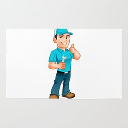 Handyman worker with key in the hand Rug