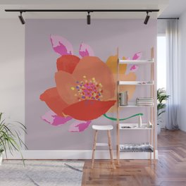 Bright happy colors rose on dusty pink background Wall Mural