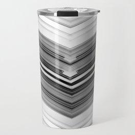 Geometric Wave - Black and White Minimal Geometric Art Travel Mug