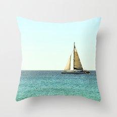 Sail Away with Me - Ocean, Sea, Blue Sky and Summer Sun Throw Pillow