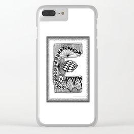 Zentangle E Monogram Alphabet Illustration Clear iPhone Case