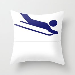 Winter Sledding I Do My Own Stunts Throw Pillow