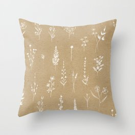 Wildflowers kraft Throw Pillow