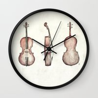cello Wall Clocks featuring Cello by Mike Koubou