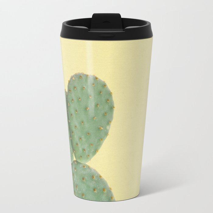 Yellow Cactus Metal Travel Mug