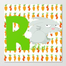 r for rabbit Canvas Print
