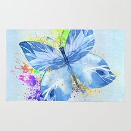 Blue Butterfly Watercolor Rainbow And Gold Rug