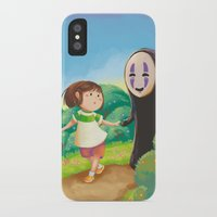 chihiro iPhone & iPod Cases featuring Chihiro and No-Face by MTerrenal