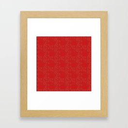 Bright ruby red fancy abstract love style pattern with fine golden hearts and bubbles Framed Art Print