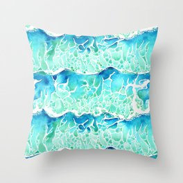 Waves of Paradise in Watercolor Throw Pillow