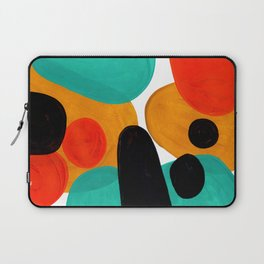 Mid Century Modern Abstract Minimalist Retro Vintage Style Rolie Polie Olie Bubbles Teal Orange Laptop Sleeve