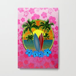 Pink Hibiscus Sunset And Surfboards Metal Print