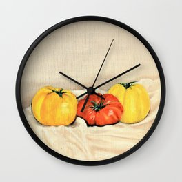 Heirloom tomatoes still life Wall Clock