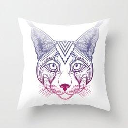 Illustration of an Ornamental Ethnic Lynx Head. head Siberian lynx. Throw Pillow