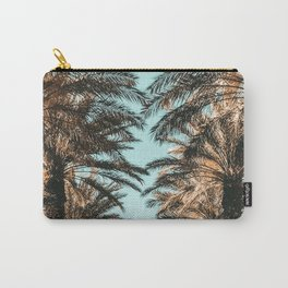 {1 of 2} Palm Tree Canopy // Tropical Summer Beach Teal Shaded Sky Carry-All Pouch
