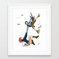 flcl Framed Art Prints featuring Hand on tight! - FLCL by gabesapienza
