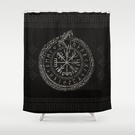 Vegvisir with Ouroboros and runes Shower Curtain