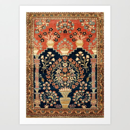 Kashan Poshti  Antique Central Persian Rug Print by vickybragomitchell
