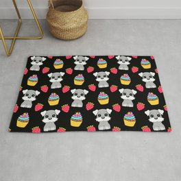 Cute happy funny baby Schnauzer puppy, sweet adorable yummy colorful Kawaii cupcakes and red summer strawberries cartoon black pattern design Rug